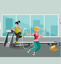 woman workout with jumping rope vector image