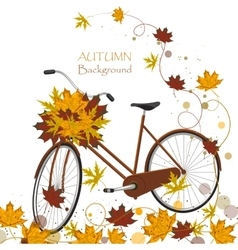 Autumn background with colorful leaves and bicycle vector image