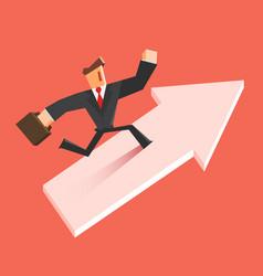 businessman run on a growing arrow success vector image