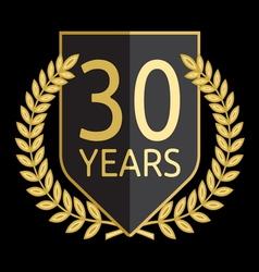 Golden laurel wreath 30 years vector image vector image
