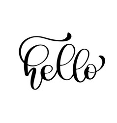 hello quote message calligraphic simple logo vector image vector image