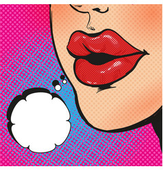 open mouth and message in pop art style vector image