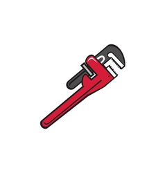 Pipe wrench retro vector
