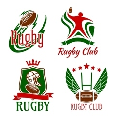 Rugby game symbols for sporting design vector image