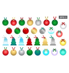 set of season greetings gift tag template for vector image