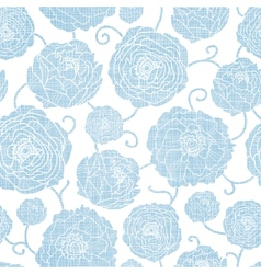 Blue textile peony flowers seamless pattern vector image