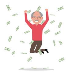 cartoon grandfather jump falling money vector image vector image