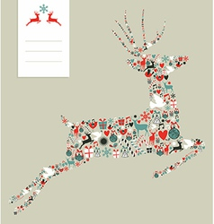 Christmas icons in jumping deer vector image