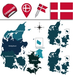 Denmark map with named divisions vector