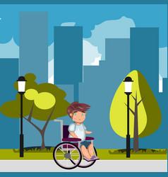 man in wheelchair in park vector image vector image