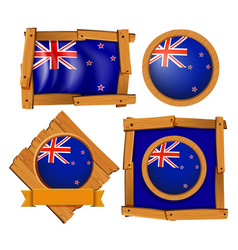 new zealand flag on round and square badges vector image