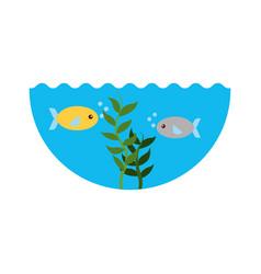 Sea fish swiming icon vector