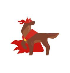 Superhero dog character standing in heroic pose vector