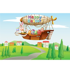 An airship with an easter greeting passing at the vector image