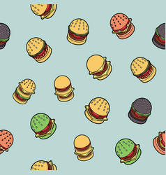burgers color outline isometric pattern vector image