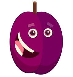cartoon plum fruit character vector image