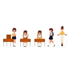 Cartoon school girl standing sitting walking and vector image