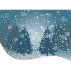 Holiday card silhouettes of fur-trees on a vector