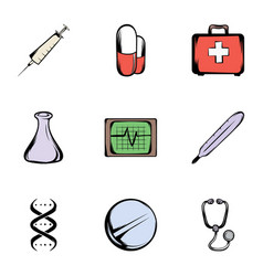 medicine icons set cartoon style vector image vector image
