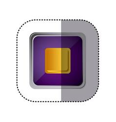 purple emblem stop button vector image