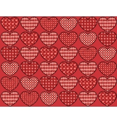 Quilt hearts seamless pattern vector image