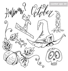 set for halloween vector image