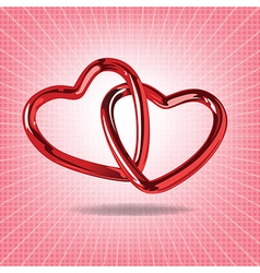 Two red hearts of steel linked together realistic vector image vector image