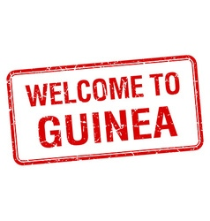welcome to Guinea red grunge square stamp vector image vector image