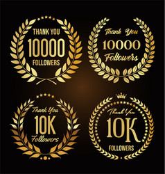10000 followers with thank you with golden vector