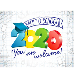 2020 colored back to school 3 d vector image