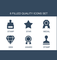 6 quality icons vector