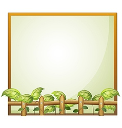 An empty frame with a wooden fence and vine plants vector