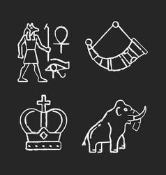 Ancestors heritage chalk white icons set on black vector