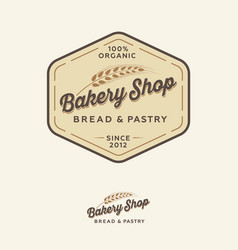 Bakery logo bread shop emblem lettering spikelet vector