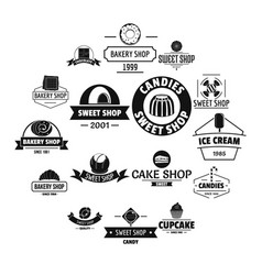 bakery sweets logo icons set simple style vector image