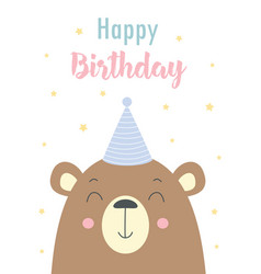 birthday card with bear isolated on white vector image