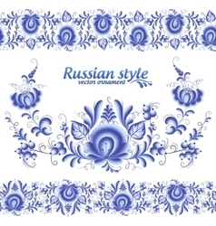 Blue floral stripes seamless pattern in Russian vector image