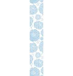 Blue textile peony flowers vertical border vector