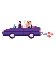 bride and groom in car wedding day vector image