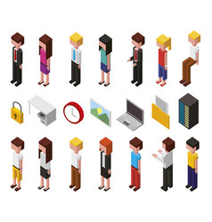 Bundle data center and users avatars isometric vector