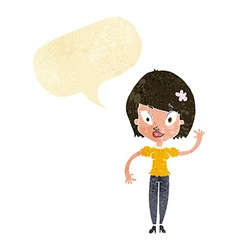 Cartoon pretty woman waving with speech bubble vector