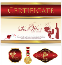 Certificate labels and medal - best wine vector