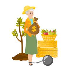 chained senior caucasian farmer holding money bag vector image