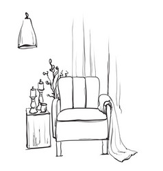 chair sketch style blanket vector image