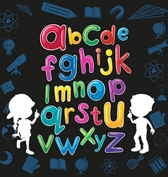 Children and English alphabet vector image