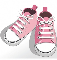 Children pink shoes vector