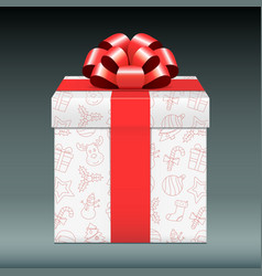 christmas gift box with red bow vector image
