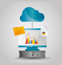 cloud computing data folder file transfer info vector image