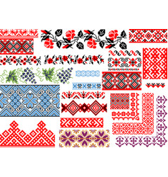 collection 25 seamless ethnic patterns vector image