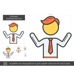 Confused businessman line icon vector image